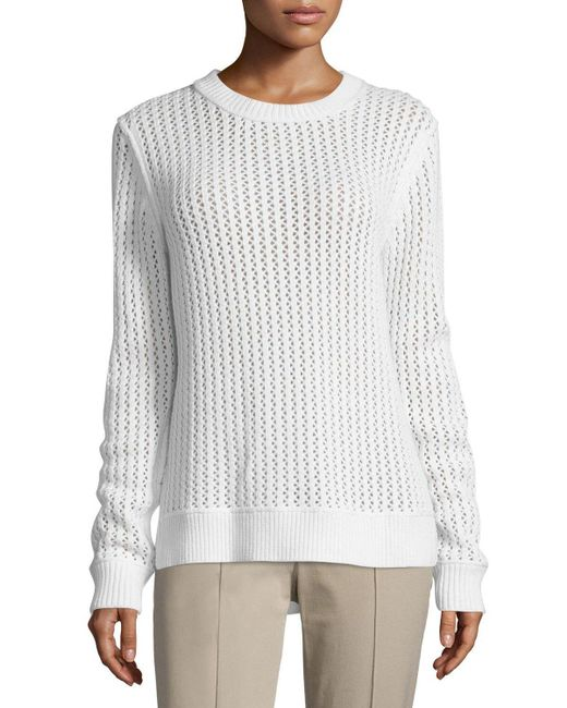 Michael Kors | White Long-sleeve Zigzag-ribbed Sweater | Lyst