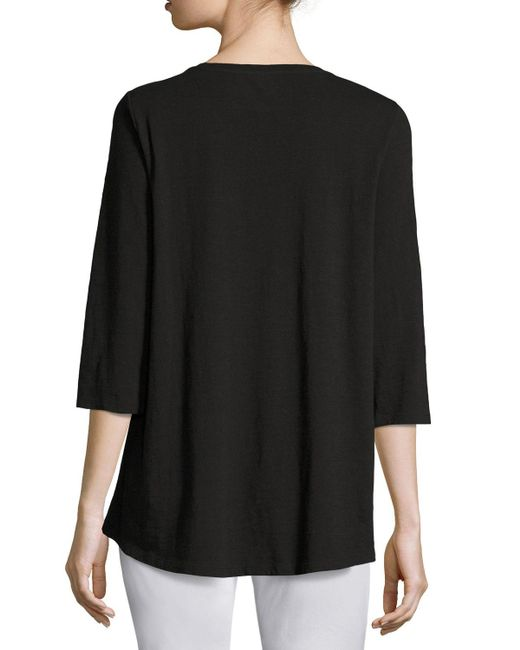 Eileen Fisher | Black Slubby Organic Cotton Jersey Top | Lyst