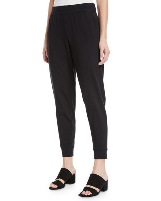 Eileen Fisher - Black Slouchy Organic Cotton Jersey Pants - Lyst