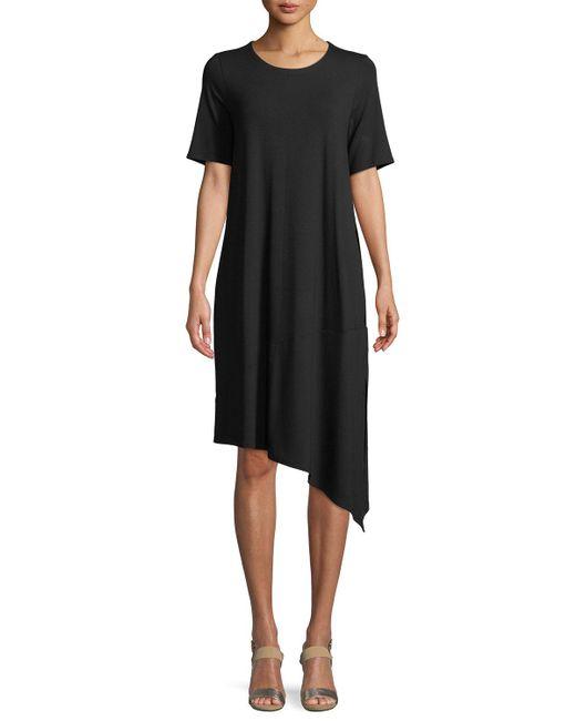 Eileen Fisher - Black Short-sleeve Asymmetric Jersey Dress - Lyst