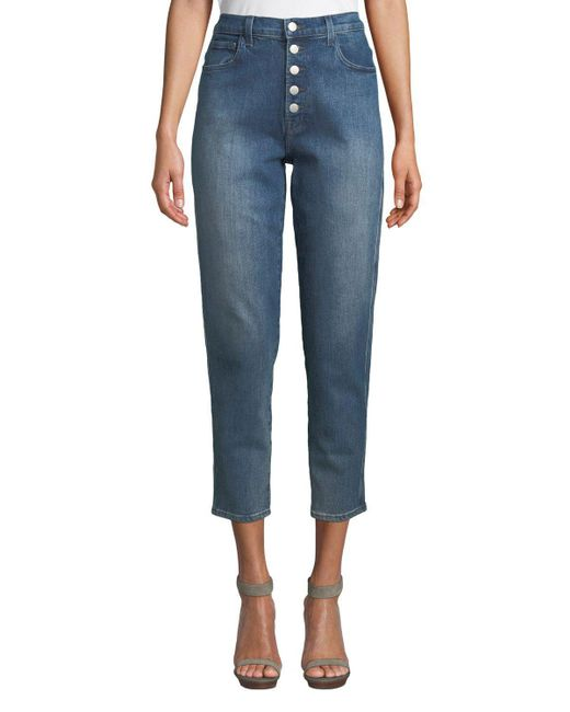 6710cbf50988 Lyst - J Brand Heather High-rise Button-fly Cropped Jeans in Blue ...