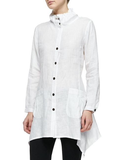 Go> By Go Silk - White Ruffle-collar Linen Drama Big Shirt Petite - Lyst