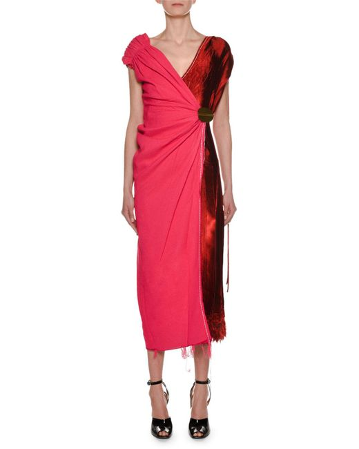 Marni - Red V-neck Bicolor Mixed-media Woven Wrap Ankle-length Dress - Lyst