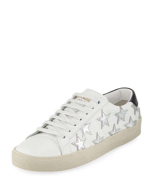 Saint Laurent - White Court Classic Low-top Sneakers With Stars - Lyst