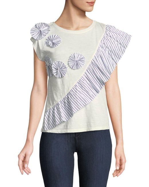 Joie - White Eckarta Ruffle Applique Short-sleeve Tee - Lyst