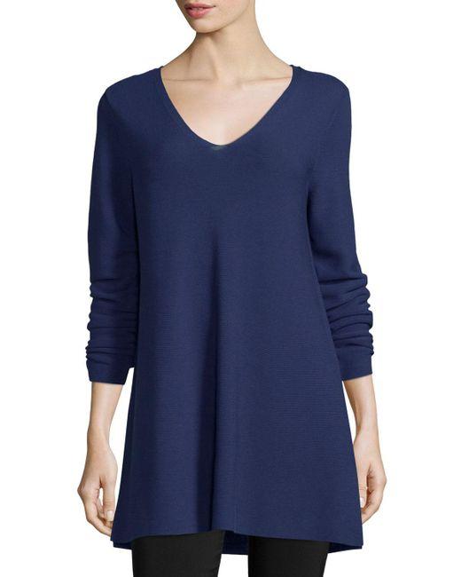Eileen Fisher - Blue Crisp Cotton Links Long-sleeve V-neck Tunic - Lyst