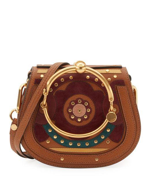Chloé | Brown Nile Small Floral Bracelet Bag | Lyst