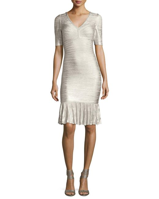 Hervé Léger | White Foil Metallic Pointelle Flounce-hem Bandage Dress | Lyst