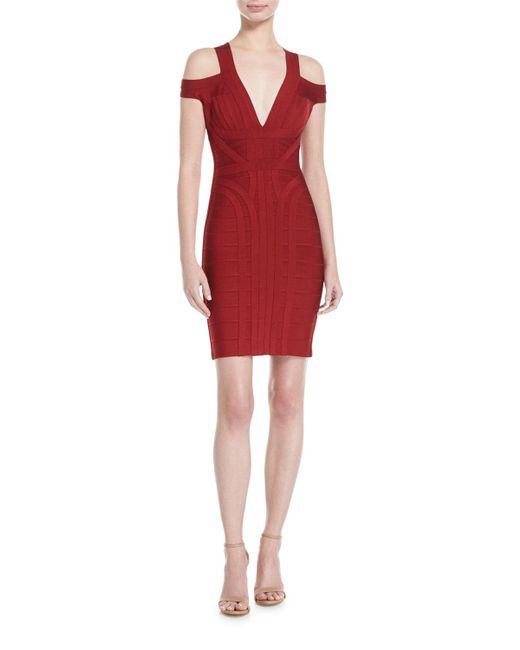 Hervé Léger   Red Cold-shoulder V-neck Bandage Dress   Lyst