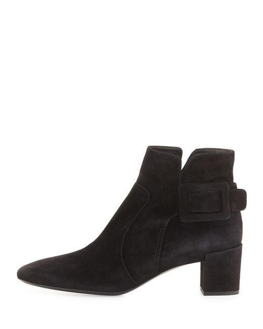 Roger Vivier   Black Polly Suede Side-buckle Ankle Boot   Lyst