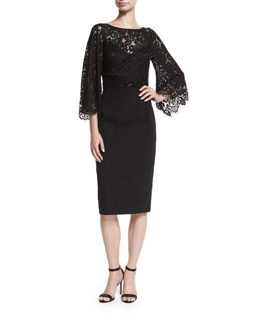 David Meister | Black Trumpet-sleeve Lace Cocktail Dress W/ Crepe Skirt | Lyst