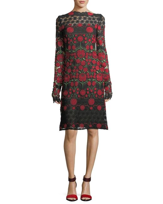 Naeem Khan | Floral-embroidered Lace Long-sleeve Cocktail Dress | Lyst