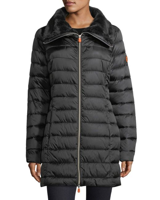 Save The Duck   Black Iris Iridescent Quilted Puffer Coat   Lyst