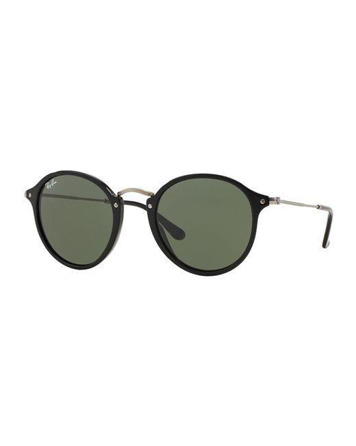 Ray-Ban | Black Round Plastic/metal Sunglasses | Lyst