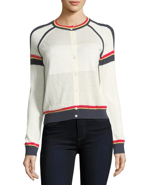 Neiman Marcus - White Cashmere Athletic Striped Cardigan - Lyst