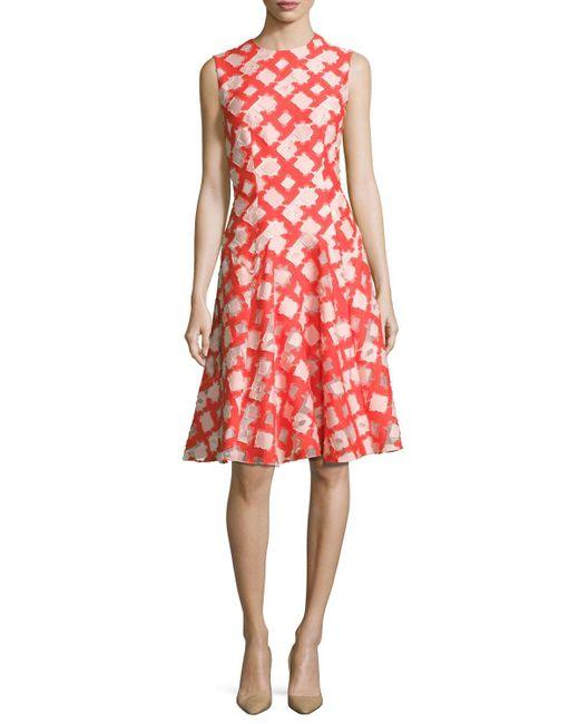 Lela Rose - Red Sleeveless Godet A-line Dress - Lyst