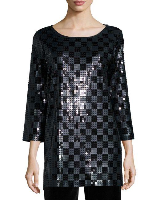 Joan Vass - Black 3/4-sleeve Square Sequined Tunic - Lyst