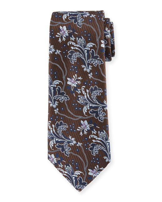 Ermenegildo Zegna | Blue Large-floral Silk Tie for Men | Lyst