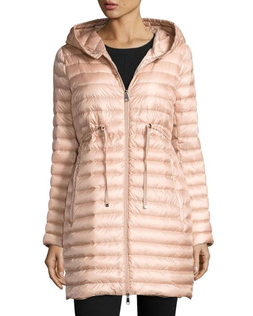 Moncler - Pink Barbel Hooded Puffer Coat - Lyst