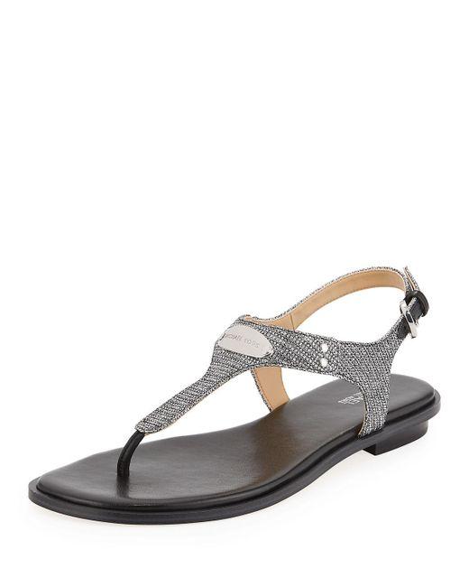 MICHAEL Michael Kors - Mk Plate Metallic Thong Sandals - Lyst