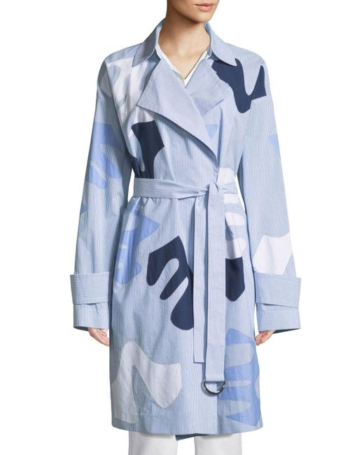 Lafayette 148 New York - Blue Laurita Sartorial Stripe Coat With Appliques - Lyst