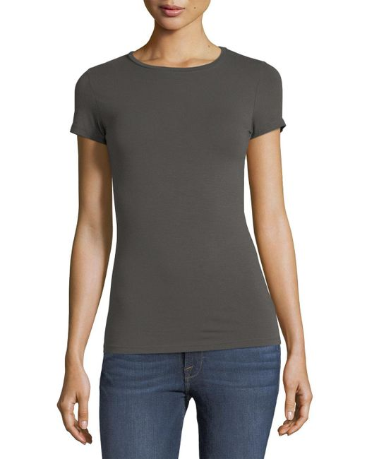 Neiman Marcus - Black Soft Touch Short-sleeve Tee - Lyst