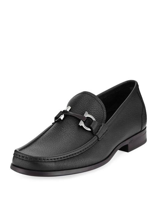 Ferragamo | Black Grandioso Grained Calf Leather Bit Loafer for Men | Lyst