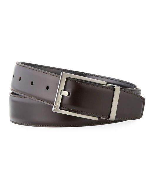 Ferragamo - Black Men's Square-buckle Reversible Leather Belt for Men - Lyst