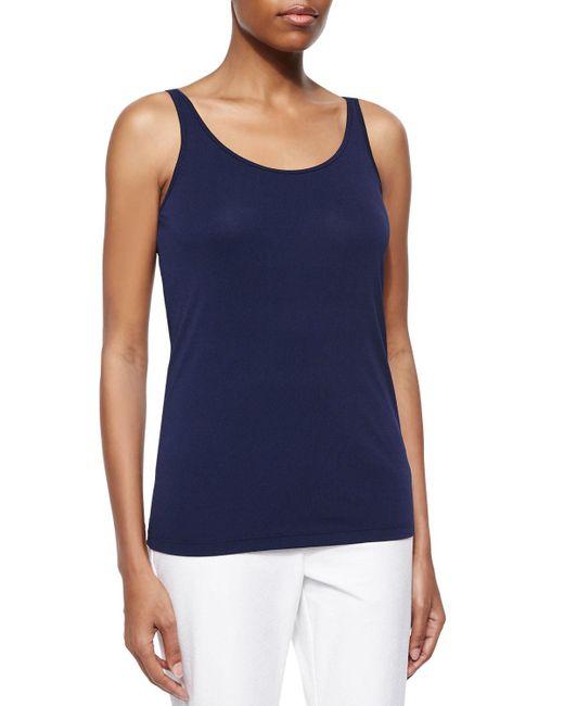 Eileen Fisher - Blue Scoop-neck Stretch Silk Jersey Cami - Lyst
