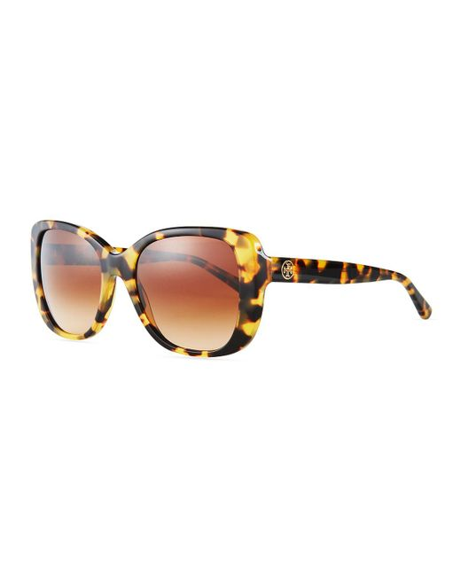 Tory Burch - Brown Gradient Rectangle Sunglasses - Lyst