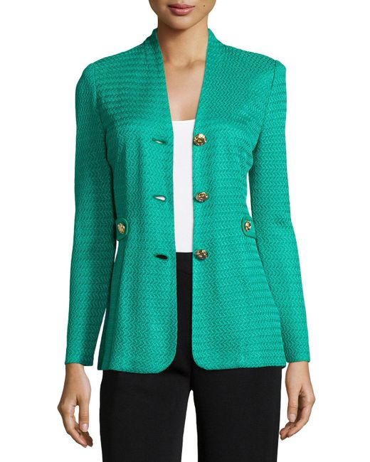Misook - Blue Textured Gold-button Jacket - Lyst