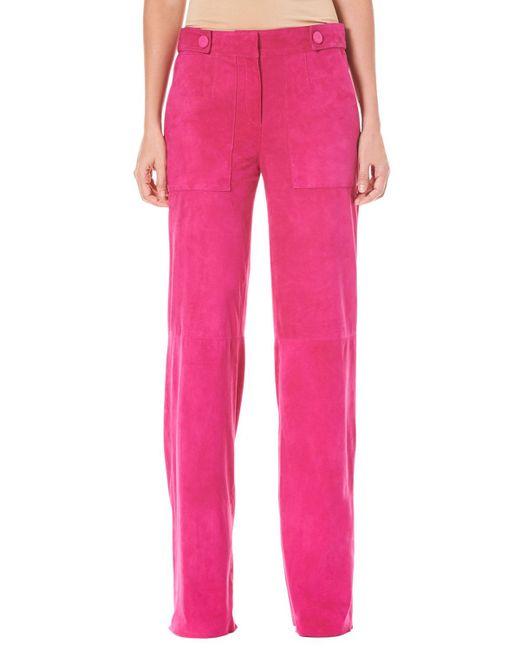 Carolina Herrera - Pink Straight-leg Suede Pants - Lyst