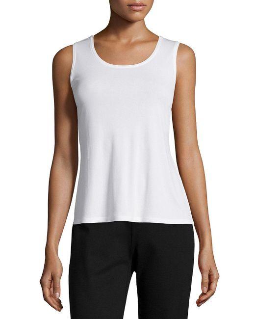 Eileen Fisher - White Stretch Silk Jersey Tank - Lyst