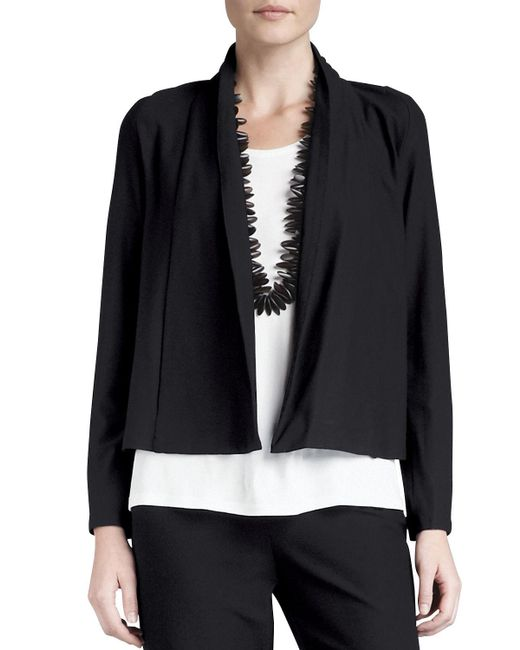 Eileen Fisher - Black Washable-stretch Crepe Short Jacket - Lyst