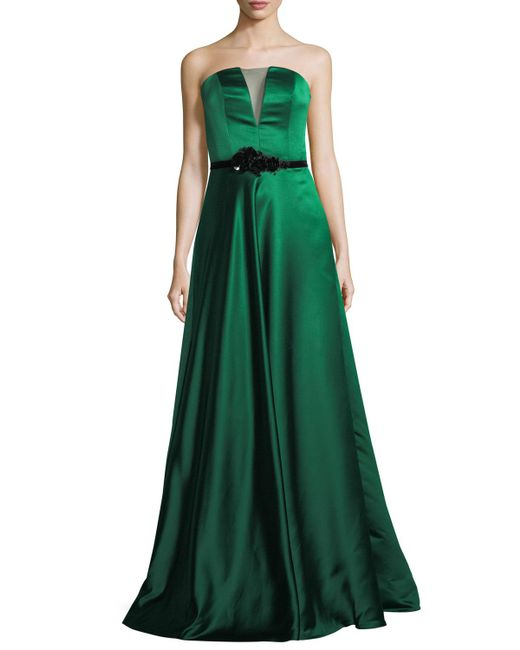 THEIA   Green Strapless Double-faced Satin Evening Gown   Lyst