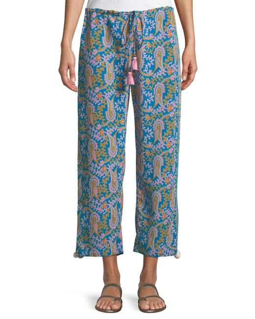 Figue - Blue Goa Bahia Beach Paisley-print Straight-leg Crop Pants - Lyst