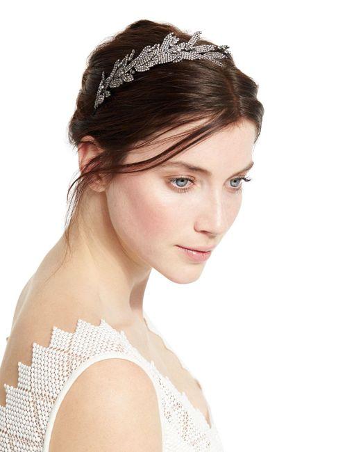 Jennifer Behr | Metallic Arielle Crystal Leaf Headband | Lyst