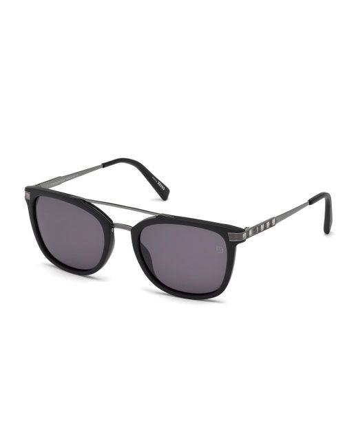 Ermenegildo Zegna - Multicolor Acetate & Chevron Metal Rectangular Glasses Matte Black/gray for Men - Lyst