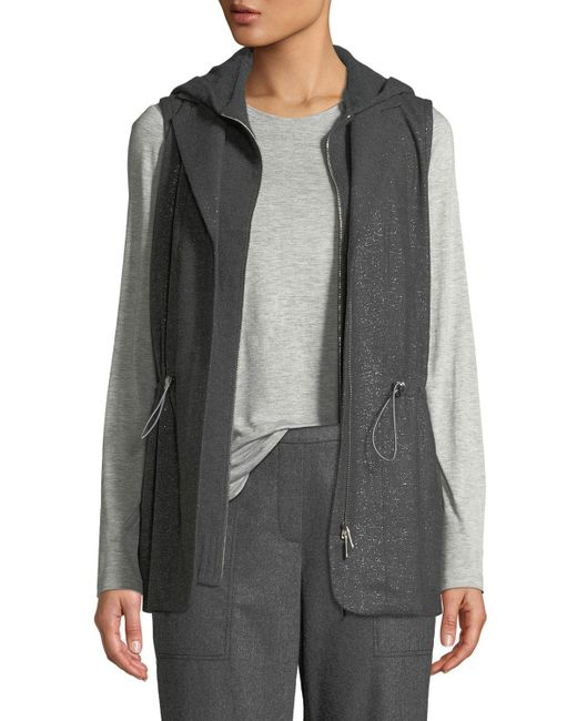 Lafayette 148 New York - Gray Sam Zip-front Stardust Wool Suiting Combo Vest W/ Nylon Back - Lyst
