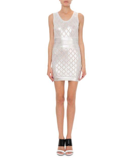 85231c12afc Balmain Sleeveless Metallic Scale-knit Cocktail Dress in Metallic - Lyst