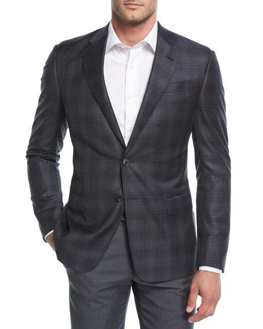 Giorgio Armani - Gray Degrade Plaid Wool Sport Coat for Men - Lyst