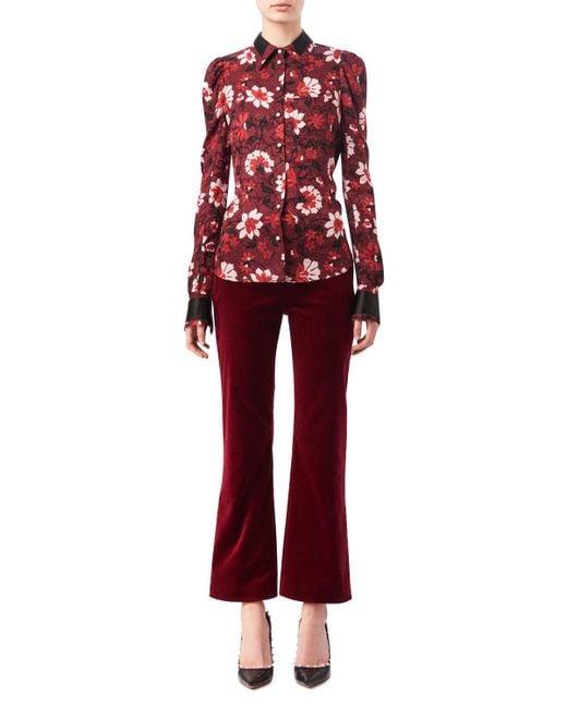 Altuzarra   Red Marlowe Floral Dot Satin-trim Shirt   Lyst