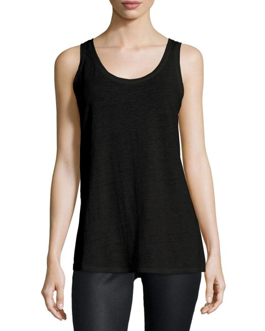Eileen Fisher - Black Slub Organic Linen Jersey Long Tank - Lyst