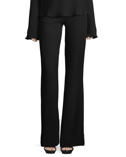 Brandon Maxwell - Black High-waist Crepe Flare Pants - Lyst