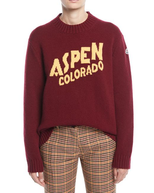 Moncler - Red Aspen Cashmere And Wool Sweater - Lyst
