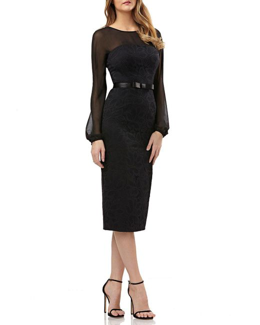 Kay Unger - Black Long-sleeve Belted Dress In Lace & Chiffon - Lyst
