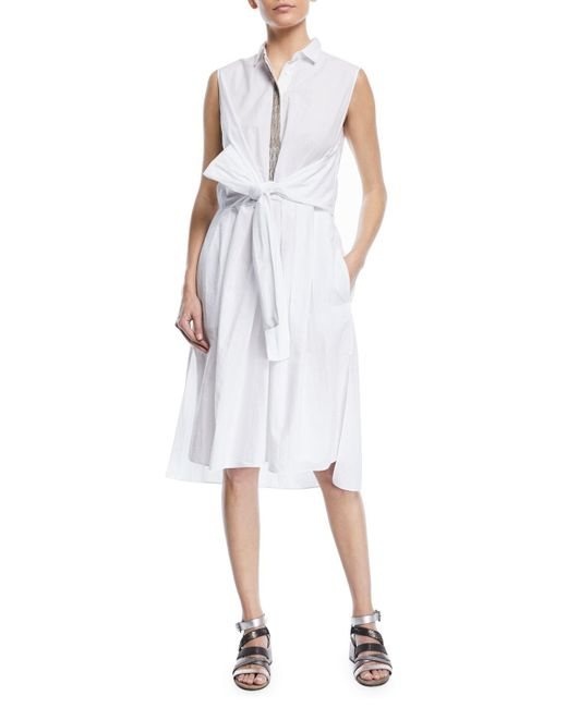 Brunello Cucinelli - White Sleeveless Cotton Wrap-front Shirtdress With Embroidered Placket - Lyst