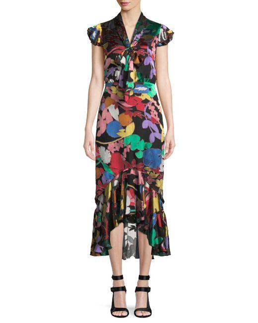 Alice + Olivia - Multicolor Greta Ruffle-hem Midi Dress - Lyst