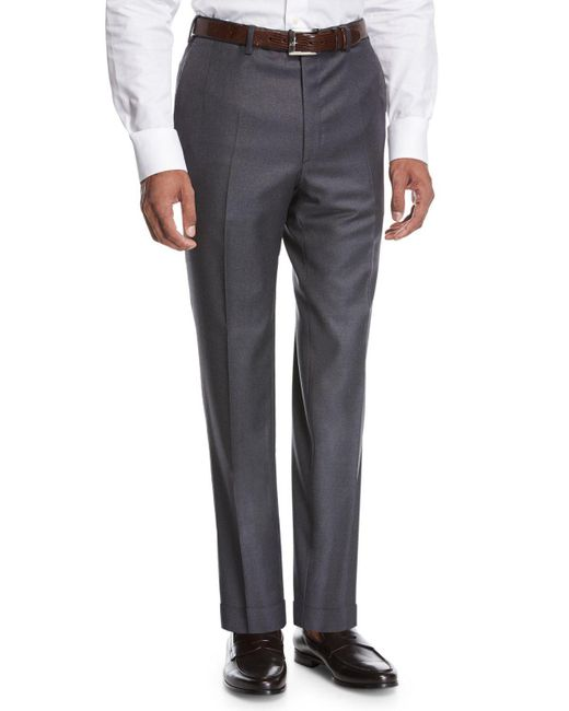 Brioni - Wool Flat-front Trousers Gray for Men - Lyst