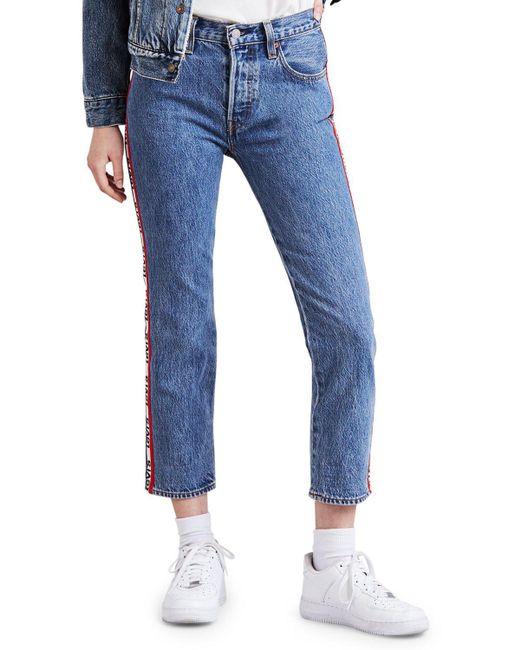 Levi's - Blue 501 Logo-stripe Crop Straight Jeans In Spectator Sport - Lyst